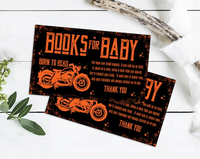 Motorcycle Baby Shower, Book for the Baby, Born to Ride Shower, Boy Baby Shower | Self-Edit with CORJL - INSTANT DOWNLOAD Printable
