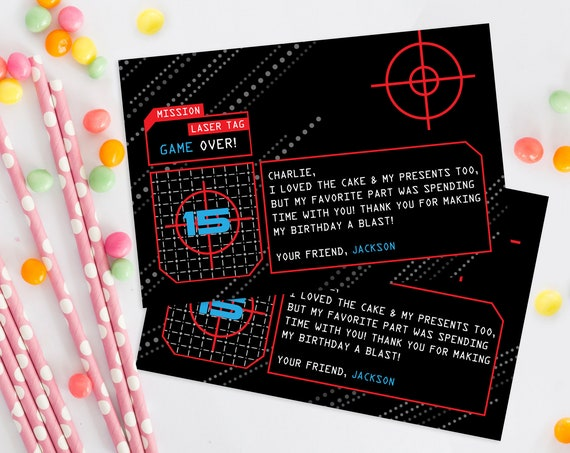 """Laser Tag Thank You Card - 4""""x6"""" Thank You Notes, Laser Tag Birthday 