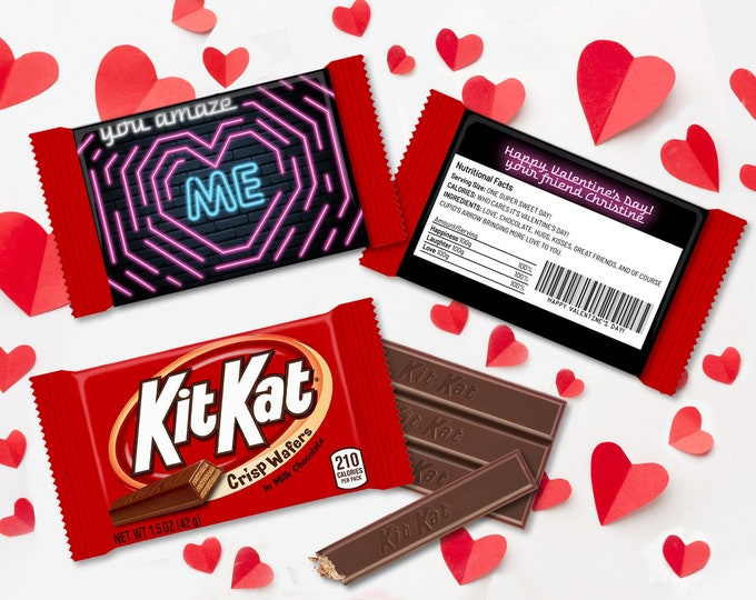 You Amaze Me Valentine Kit Kat Candy Wrap/Label - Valentine Maze Candy Label/Wrapper   Self-Editing with CORJL - INSTANT DOWNLOAD Printable