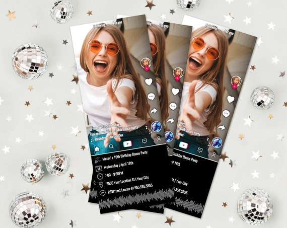 Social Media Party Ticket Photo Invitation - Video Party, Virtual Party, Dance | Self-Edit with CORJL - INSTANT DOWNLOAD Printable Template