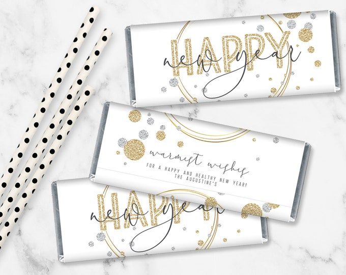 Happy New Year Candy Bar Label/Wrapper, NYE Candy Bar Party Favor | Self-Editing with CORJL - INSTANT Download Printable