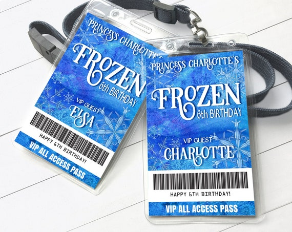 Frozen Winter Party VIP Badge, Frozen Snowflakes Theme, All Access Pass | Self-Edit with CORJL - INSTANT Download Printable