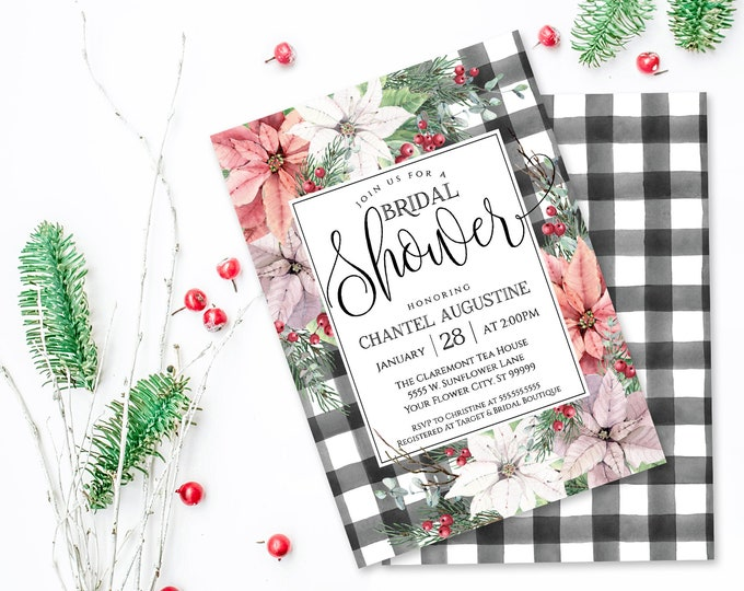Poinsettia & Plaid Bridal Shower Invitation, Watercolor, Wedding Shower | Self-Edit with CORJL - INSTANT DOWNLOAD Printable