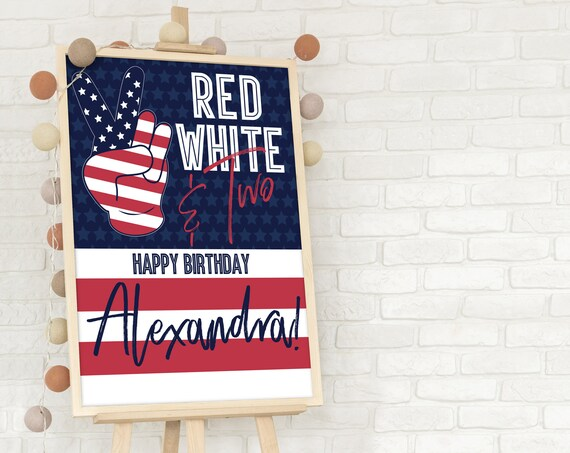Editable Red White Two 4th Of July Birthday Sign - Second Birthday Sign    Self-Edit with CORJL - INSTANT Download Printable
