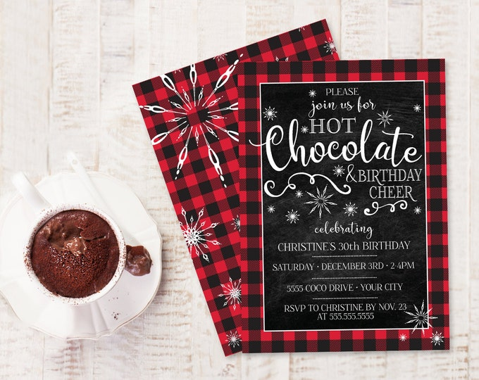 Hot Chocolate & Birthday Cheer Invitation - Hot Coco Bar Birthday Party, Winter Birthday | Self-Edit with CORJL - INSTANT DOWNLOAD Printable