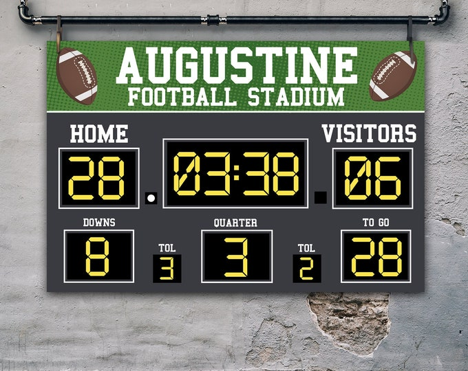 "Football Scoreboard 36""x24"" Party Sign/Poster - Scoreboard Party Sign 