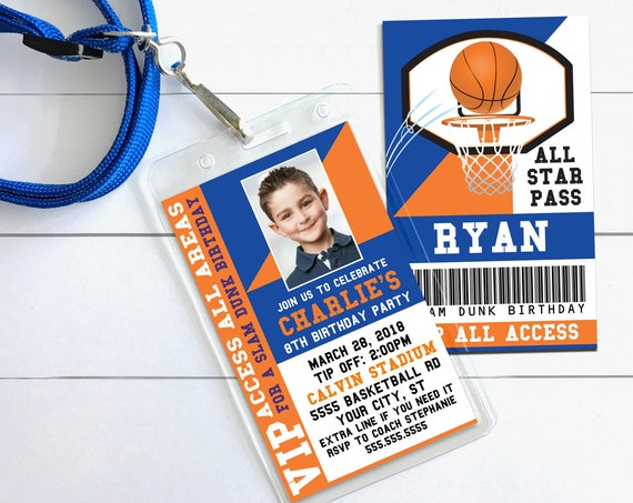 Basketball VIP ID Badge Invitation - Photo Basketball Invite Badge,All Star| Self-Edit Text with CORJL - Instant Download Printable