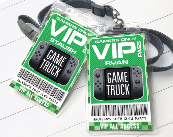 Video Game Badges - VIP Video Game I.D. Badges, Video Game Birthday, ruck Party | Self-Edit with CORJL - INSTANT Download Printable Template
