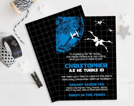 Star Wars Invitation - Star Wars Birthday Party, Star Wars Party,Tie-Fighter Blue   Self-Edit with CORJL INSTANT DOWNLOAD Printable Template