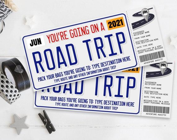 Road Trip Surprise Ticket Gift Voucher, License Plate Voucher, Vacation, Weekend Getaway | Self-Edit with CORJL - INSTANT DOWNLOAD Printable
