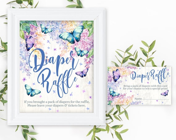 Butterfly Diaper Raffle SET - Sign & Cards, Baby Shower, Lilac, Garden Shower | Self-Edit with CORJL - INSTANT Download Printable