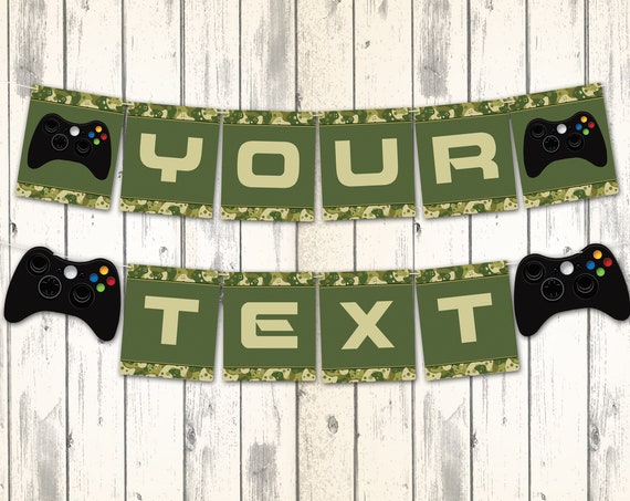 Video Game Party Banner - Gamer Birthday Party, Video Game Decorations, Green Camo | Self-Editing with CORJL - INSTANT DOWNLOAD Printable