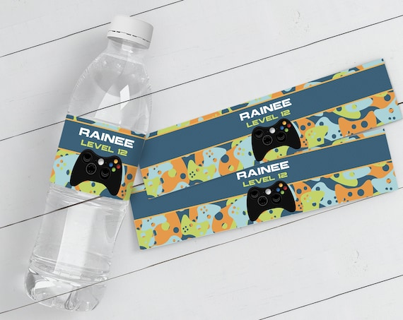 Video Game Party Water Bottle Label/Wrap - Video Game Drink Labels, Video Game Birthday | Self-Edit with CORJL - INSTANT DOWNLOAD Printable