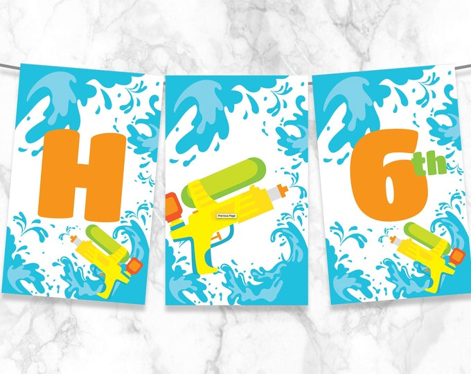 Water Gun Party Banner - Squirt Gun Party Banner, Super Soaker Party   Self-Editing with CORJL - INSTANT DOWNLOAD Printable