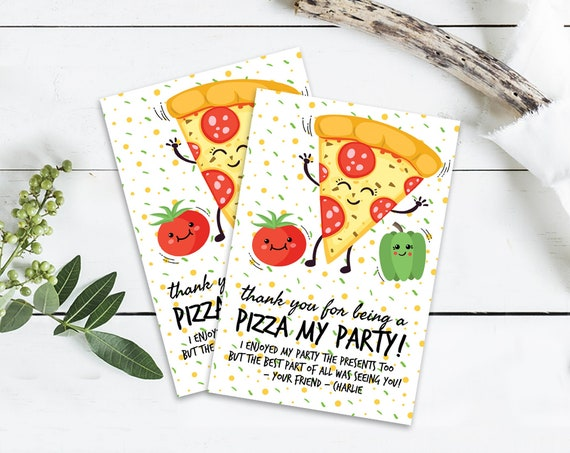 Pizza Party Thank You Cards - Pizza Party, Pizza Birthday | Self-Editing with CORJL - INSTANT Download Printable