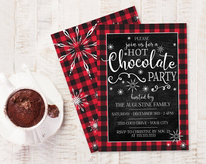 Hot Chocolate Party Invitation - Hot Chocolate Bar, Buffalo Plaid Invite, Hot Cocoa Bar   Self-Edit with CORJL - INSTANT DOWNLOAD Printable