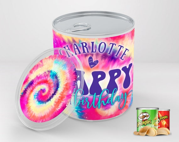 Tie Dye Party Pringles Wrap/Label - Mini Pringles Label, Hippie Birthday Party | Self-Edit Text DIY INSTANT Download Printable Template
