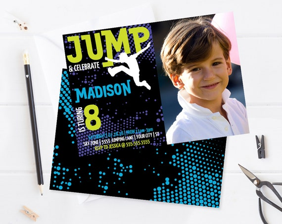 Jump Party Photo Invitation - Trampoline Invite, Jump & Play, Bounce On Over | Self-Edit with CORJL INSTANT DOWNLOAD Printable Template