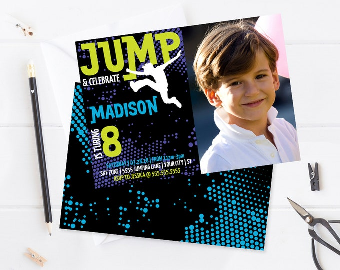 Jump Party Photo Invitation - Trampoline Invitation, Jump & Play, Bounce On Over | Self-Edit with CORJL - INSTANT DOWNLOAD Printable