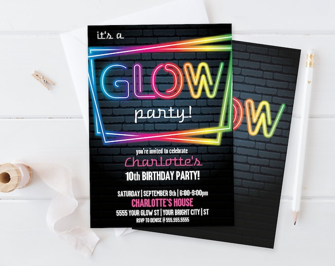 Neon Glow Party Invitation - Neon Glow Birthday, Glow Party Theme, pink | Self-Edit with CORJL - INSTANT DOWNLOAD Printable Template