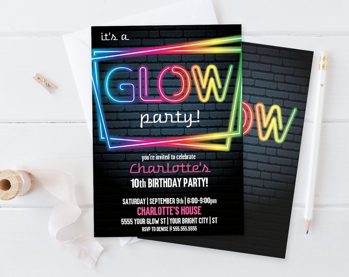 Neon Glow Party Invitation - Neon Glow Birthday, Glow Party Theme, pink | Self-Editing with CORJL - INSTANT DOWNLOAD Printable
