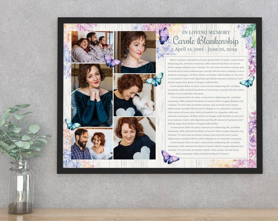 Butterfly 24x18 Custom Memorial Celebration of Life Poster/Sign - Butterflies & Flowers   Self-Edit with CORJL - INSTANT DOWNLOAD Printable