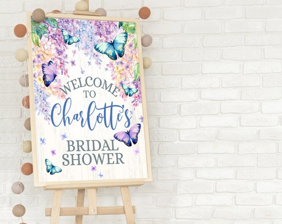 Butterfly 18x24 Bridal Shower Welcome Sign/Poster - Butterflies & Flowers, Spring Garden | Self-Edit with CORJL - INSTANT DOWNLOAD Printable