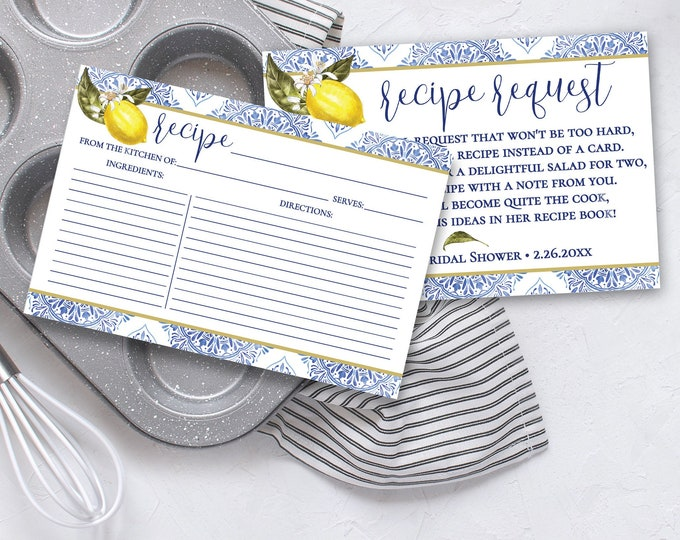 Recipe Card & Recipe Request Insert 2-Piece Set-Tuscan Lemon Bridal Shower | Pre-Typed and Self-Edit with CORJL - INSTANT DOWNLOAD Printable
