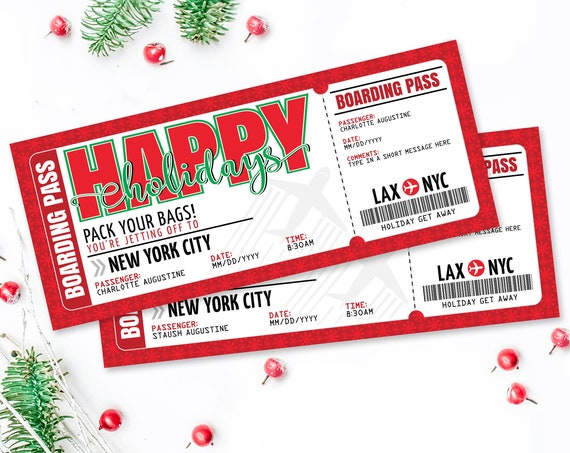 Happy Holidays Boarding Pass Ticket - Surprise Trip Reveal, Flight, Fake Plane Ticket | Self-Edit with CORJL - INSTANT DOWNLOAD Printable