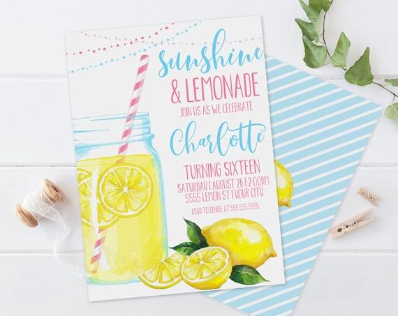 Lemonade Party Invitation - Sunshine & Lemonade,BBQ Party,Mason Jar Invite,Summer | Self-Edit with CORJL-Instant DOWNLOAD Printable Template