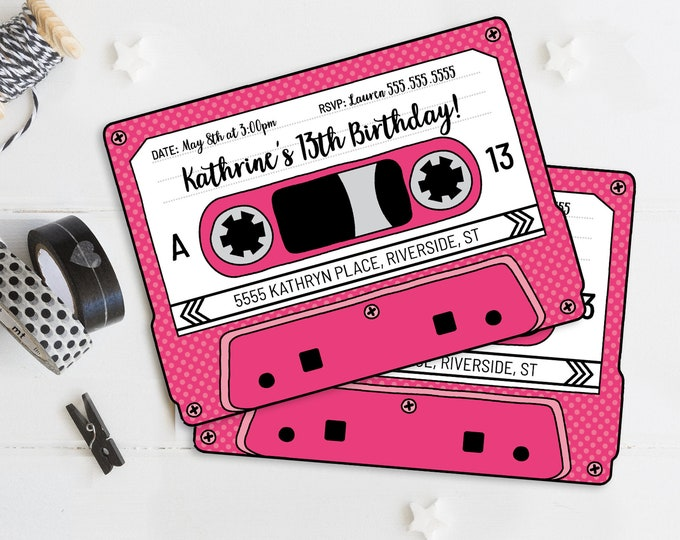 Cassette Tape Invitations - Retro Party, 80's Party Invitation, Mixtape Invite,Pink | Self-Edit with CORJL - INSTANT DOWNLOAD Printable