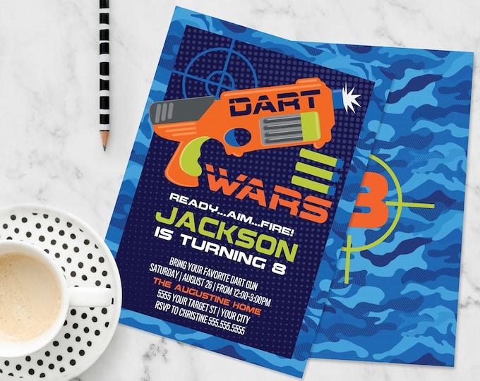 Dart Wars Invitation, Dart Wars Party, Dart Battle, Dart Gun, Target Party | Self-Edit with CORJL - INSTANT DOWNLOAD Printable Template
