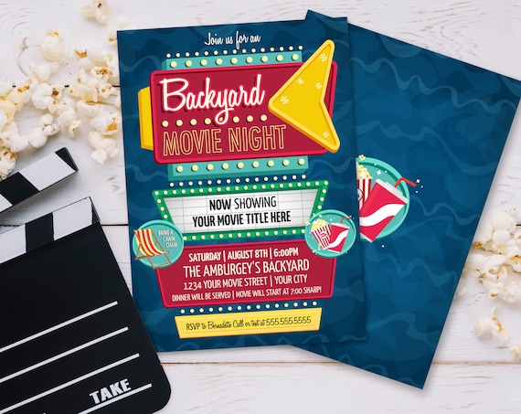 Backyard Movie Night Invitation - Outdoor Movie Night, Drive-In Movie, Retro Movie Night   Self-Edit with CORJL - INSTANT DOWNLOAD Printable