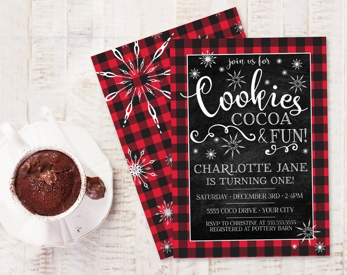Cookies Cocoa & Fun Birthday Invitation - Hot Coco Bar Birthday Party, First Birthday | Self-Edit with CORJL - INSTANT DOWNLOAD Printable