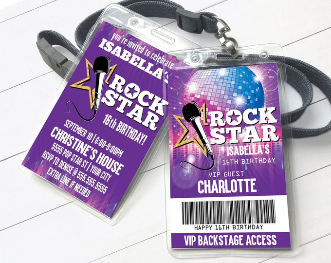 Rock Star Party VIP Badge Invitation, Party like a Pop Star, Rock n Roll | Self-Editing with CORJL - INSTANT Download Printable