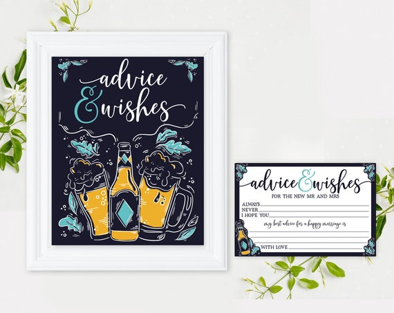 Advice Sign & Cards - Bridal Shower, 8x10 Sign/Card SET, Love is Brewing, 3 signs  | Self-Editing with CORJL - INSTANT Download Printable