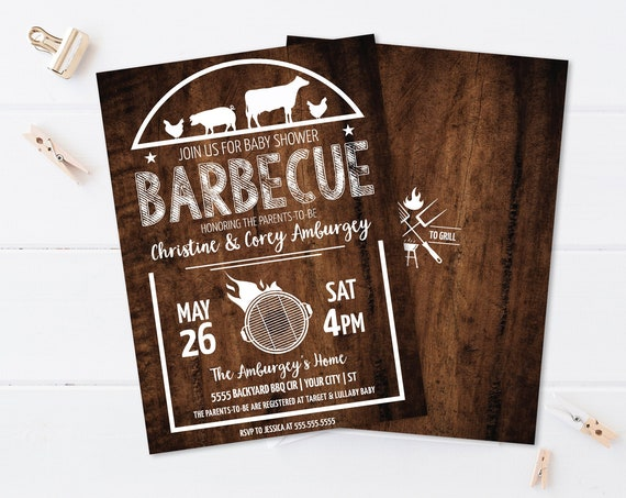 BBQ Baby Shower Invitation - Baby-Q, Barbecue Baby Shower, Summer Shower | Self-Edit with CORJL - Instant Download Printable