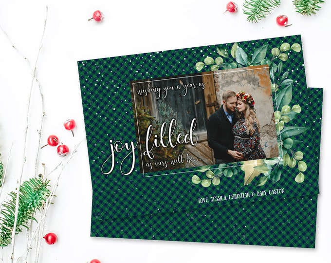 Christmas Pregnancy Announcement - Plaid Christmas Card,  Holiday Photo Greeting Card | Self-Edit with CORJL - INSTANT Download Printable