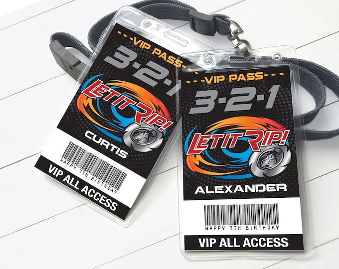 Blade Tournament I.D. Badges - Bey-Blade Inspired VIP Badges, All Access Pass | Self-Editing with CORJL - INSTANT Download Printable