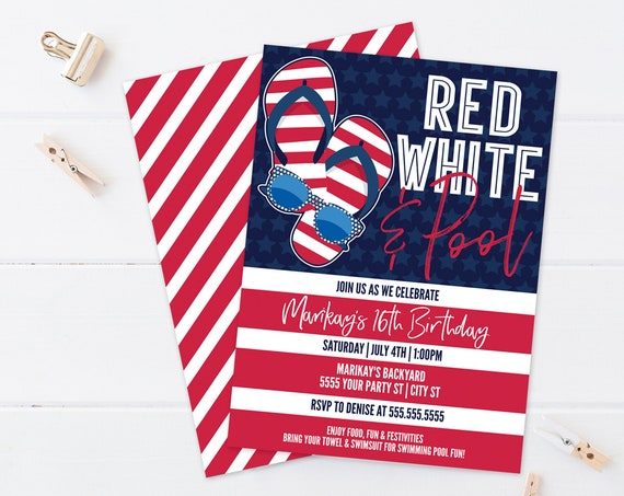 Editable Red White Pool Party - 4th Of July Birthday Invitation - Pool Party Birthday    Self-Edit with CORJL - INSTANT Download Printable