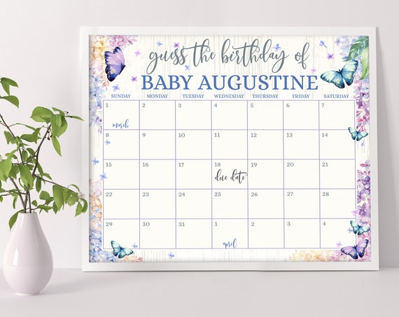 Butterfly Lilac Due Date Calendar Game, Guess Baby's Birthday Prediction Shower Game | Self-Edit with CORJL - INSTANT DOWNLOAD Printable