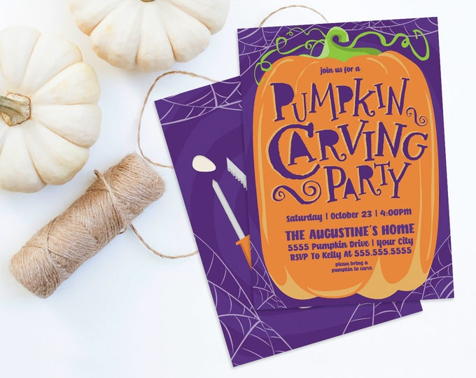 Pumpkin Carving Party Invitation - Fall Party, Pumpkin Invitation, Autumn Party | Self-Editing with CORJL - INSTANT DOWNLOAD Printable