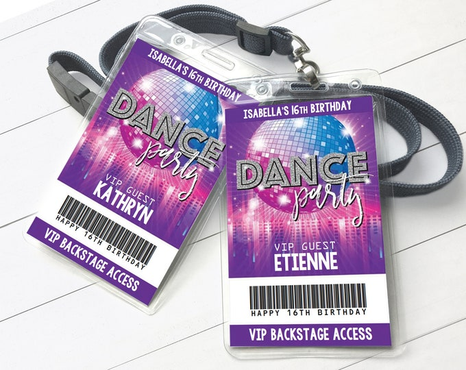 Dance Party VIP Badge, Disco Dance Party, Rock n Roll Party, All Access Pass | Self-Editing with CORJL - INSTANT Download Printable
