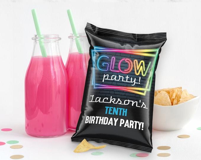 Glow Party Potato Chip Bag Wrap/Label/Template - Snacks Bag, Loot, Mini Chip Bag Favors | Self-Edit with CORJL - INSTANT Download Printable