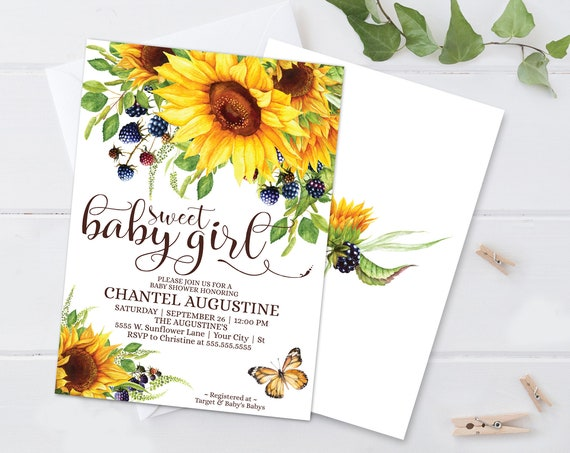 Sweet Baby Girl Sunflower Shower Invitation, Boho, Greenery,Baby Shower   Self-Edit with CORJL INSTANT DOWNLOAD Printable Template