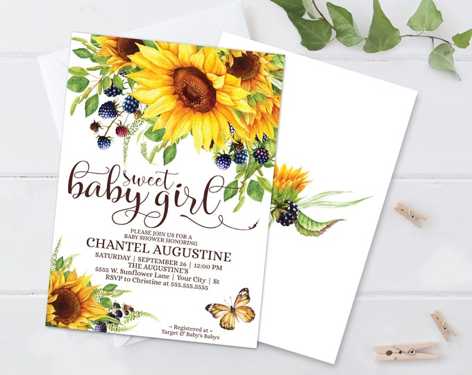 Sweet Baby Girl Sunflower Shower Invitation, Boho, Greenery,Baby Shower | Self-Edit with CORJL INSTANT DOWNLOAD Printable Template