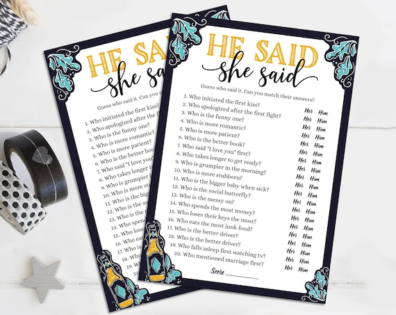 He Said She Said Bridal Shower Game, Craft Beer Shower, Love is Brewing Shower | Self-Edit with CORJL - INSTANT Instant Printable