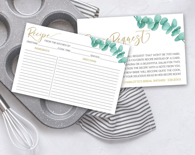 Eucalyptus Recipe Card & Recipe Request Insert 2-Piece Set-Bridal Shower | Pre-Typed and Self-Edit with CORJL - INSTANT DOWNLOAD Printable
