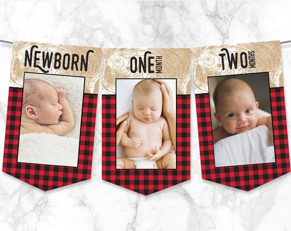 Lumberjack First Year Photo Banner - 12 Month Photo Banner, 1st Birthday Banner   Self-Edit with CORJL - INSTANT DOWNLOAD Printable Template