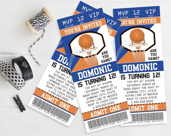 Basketball Ticket Invitation - Basketball Party, Basketball Birthday, Blue | Self-Editing DIY Editable Text INSTANT DOWNLOAD Printable